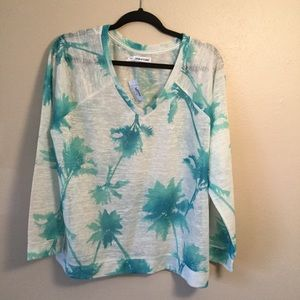 Maurices Sheer Palm Tree Long Sleeve Top Plus Size